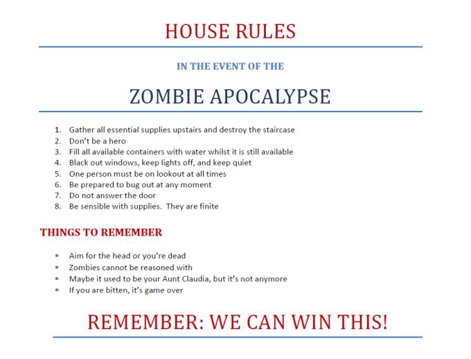 Zombie Apocalypse House Rules
